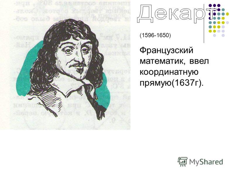 (1596-1650) Французский математик, ввел координатную прямую(1637г).