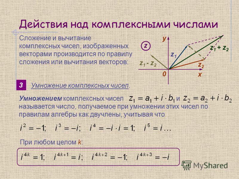 Действия над комплексными числами 3 Умножение комплексных чисел. Сложение и вычитание комплексных чисел, изображенных векторами производится по правилу сложения или вычитания векторов: y 0 х z z1z1 z2z2 z 1 + z 2 z 1 - z 2 Умножением комплексных чисе