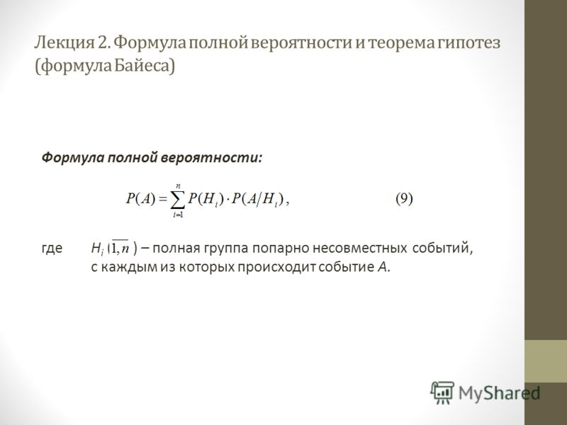 Лекция 2. Формула полной вероятности и теорема гипотез (формула Байеса) Формула полной вероятности: гдеН i ( ) – полная группа попарно несовместных событий, с каждым из которых происходит событие А.