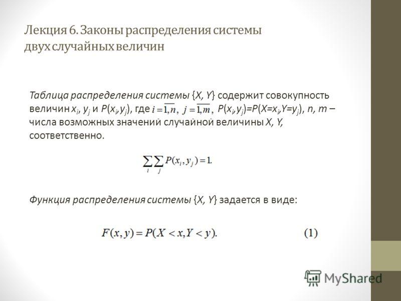 Лекция 6. Законы распределения системы двух случайных величин Таблица распределения системы {X, Y} содержит совокупность величин x i, y j и P(x i,y j ), где P(x i,y j )=P(X=x i,Y=y j ), n, m – числа возможных значений случайной величины X, Y, соответ