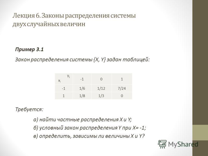 Лекция 6. Законы распределения системы двух случайных величин Пример 3.1 Закон распределения системы {X, Y} задан таблицей: Требуется: а) найти частные распределения X и Y; б) условный закон распределения Y при X= -1; в) определить, зависимы ли велич