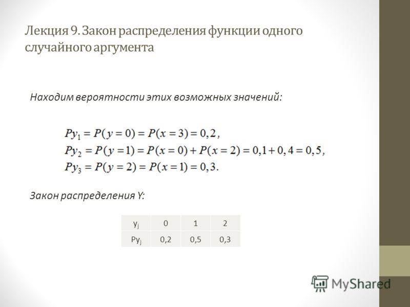 Лекция 9. Закон распределения функции одного случайного аргумента Находим вероятности этих возможных значений: Закон распределения Y: yjyj 012 Py j 0,20,50,3