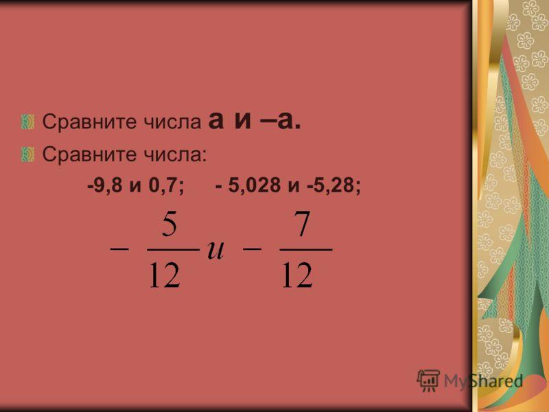 Сравните числа а и –а. Сравните числа: -9,8 и 0,7; - 5,028 и -5,28;