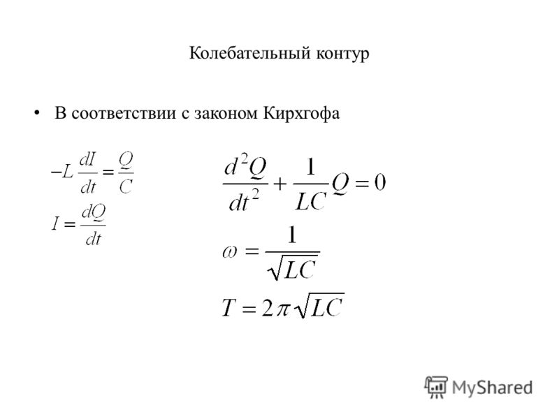 Колебательный контур В соответствии с законом Кирхгофа