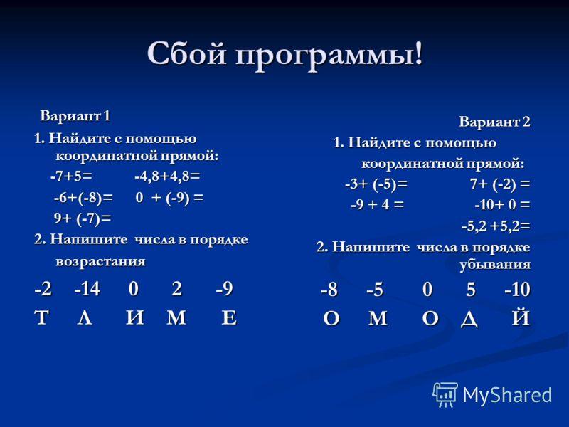 Сбой программы! Вариант 1 Вариант 1 1. Найдите с помощью координатной прямой: -7+5= -4,8+4,8= -7+5= -4,8+4,8= -6+(-8)= 0 + (-9) = -6+(-8)= 0 + (-9) = 9+ (-7)= 9+ (-7)= 2. Напишите числа в порядке возрастания -2 -14 0 2 -9 Т Л И М Е Вариант 2 1. Найди