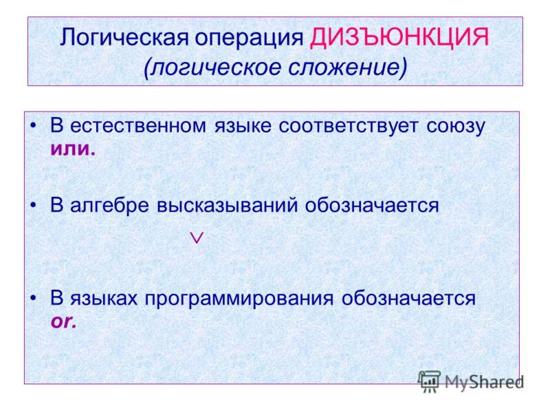 Логическая операция ДИЗЪЮНКЦИЯ (логическое сложение) В естественном языке соответствует союзу или. В алгебре высказываний обозначается В языках программирования обозначается or.