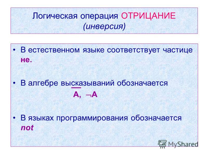Логическая операция ОТРИЦАНИЕ (инверсия) В естественном языке соответствует частице не. В алгебре высказываний обозначается А, А В языках программирования обозначается not