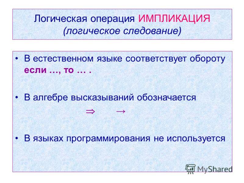 Логическая операция ИМПЛИКАЦИЯ (логическое следование) В естественном языке соответствует обороту если …, то …. В алгебре высказываний обозначается В языках программирования не используется