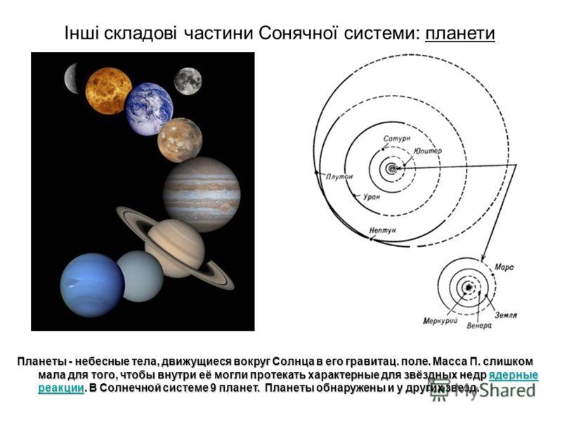 Планеты - небесные тела, движущиеся вокруг Солнца в его гравитац. поле. Масса П. слишком мала для того, чтобы внутри её могли протекать характерные для звёздных недр ядерные реакции. В Солнечной системе 9 планет. Планеты обнаружены и у других звезд.