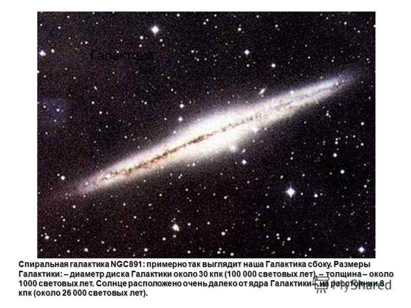 Спиральная галактика NGC891: примерно так выглядит наша Галактика сбоку. Размеры Галактики: – диаметр диска Галактики около 30 кпк (100 000 световых лет), – толщина – около 1000 световых лет. Солнце расположено очень далеко от ядра Галактики – на рас