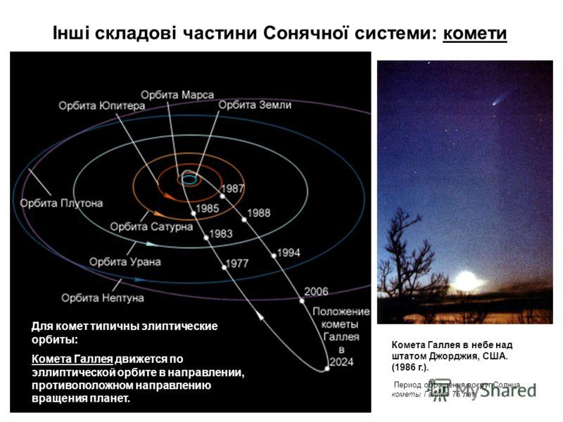 Інші складові частини Сонячної системи: комети Комета Галлея в небе над штатом Джорджия, США. (1986 г.). Период обращения вокруг Солнца кометы Галлея 76 лет, Для комет типичны элиптические орбиты: Комета Галлея движется по эллиптической орбите в напр