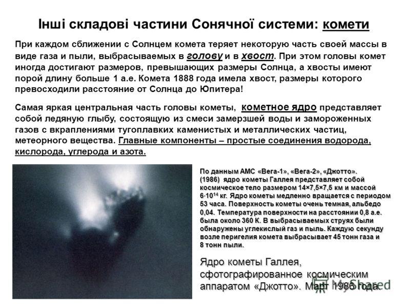 Інші складові частини Сонячної системи: комети При каждом сближении с Солнцем комета теряет некоторую часть своей массы в виде газа и пыли, выбрасываемых в голову и в хвост. При этом головы комет иногда достигают размеров, превышающих размеры Солнца,
