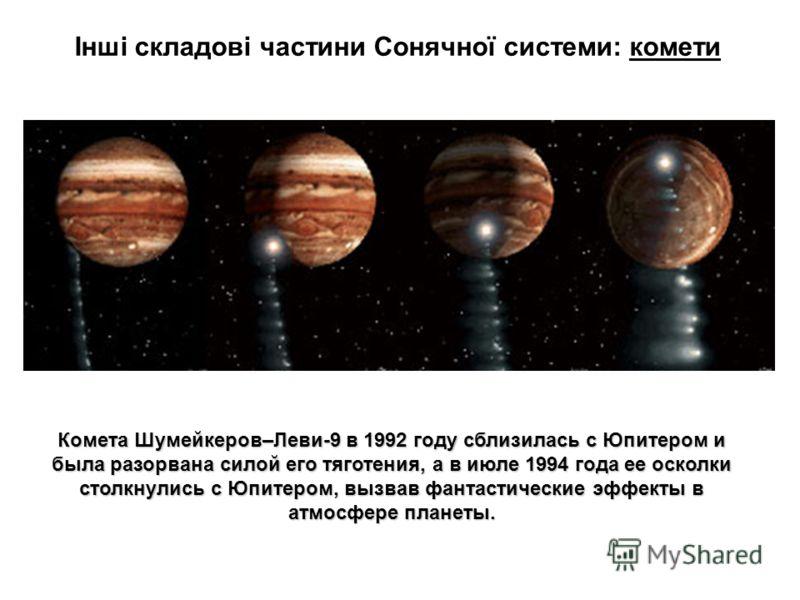 Інші складові частини Сонячної системи: комети Комета Шумейкеров–Леви-9 в 1992 году сблизилась с Юпитером и была разорвана силой его тяготения, а в июле 1994 года ее осколки столкнулись с Юпитером, вызвав фантастические эффекты в атмосфере планеты.