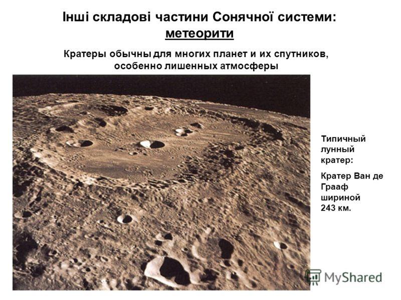 Інші складові частини Сонячної системи: метеорити Типичный лунный кратер: Кратер Ван де Грааф шириной 243 км. Кратеры обычны для многих планет и их спутников, особенно лишенных атмосферы