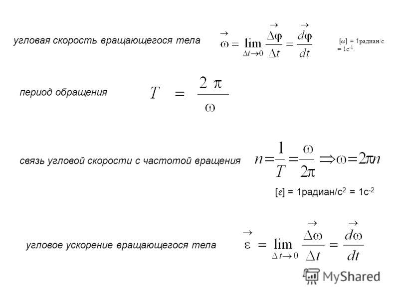угловая скорость вращающегося тела [ ] = 1 радиан/с = 1с -1. период обращения связь угловой скорости с частотой вращения угловое ускорение вращающегося тела [ ] = 1радиан/с 2 = 1с -2