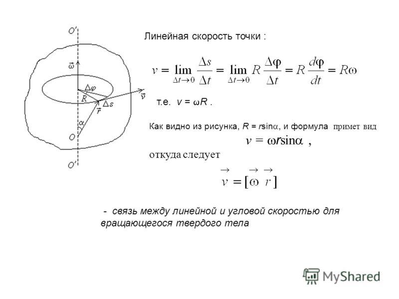 Линейная скорость точки : т.е. v = R. Как видно из рисунка, R = rsin, и формула примет вид v = r sin, откуда следует - связь между линейной и угловой скоростью для вращающегося твердого тела