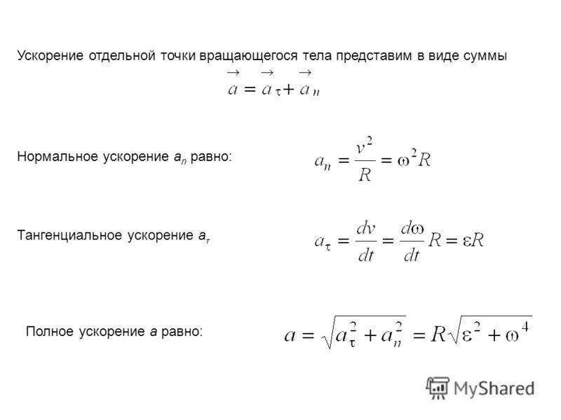 Ускорение отдельной точки вращающегося тела представим в виде суммы Нормальное ускорение a n равно: Тангенциальное ускорение a Полное ускорение a равно: