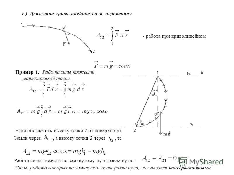 с ) Движение криволинейное, сила переменная. - работа при криволинейном движении Пример 1: Работа силы тяжести при криволинейном движении материальной точки. Если обозначить высоту точки 1 от поверхности Земли через, а высоту точки 2 через, то Работа