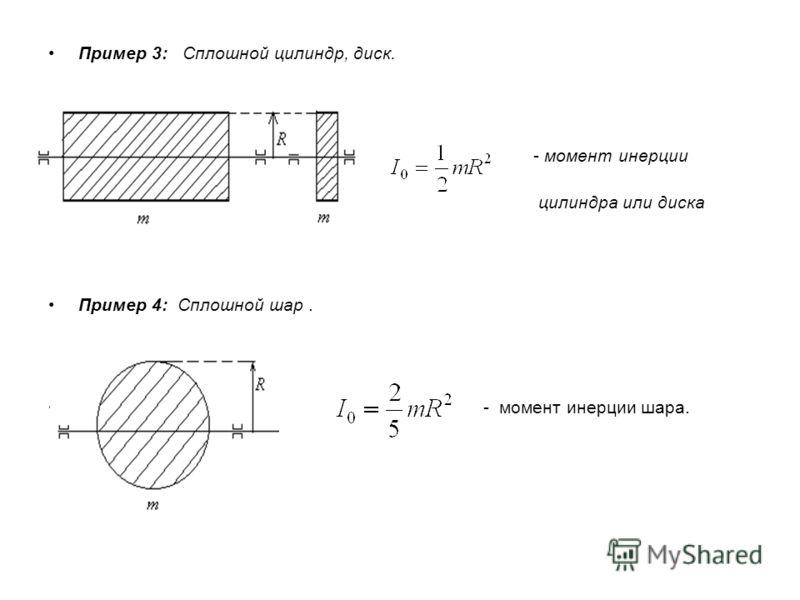 Пример 3: Сплошной цилиндр, диск. - момент инерции сплошного цилиндра или диска Пример 4: Сплошной шар. - момент инерции шара.