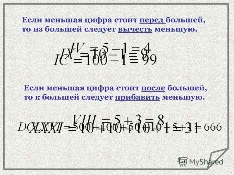 5V 500 10 X L 50 C 1000 100 D M Мы Dарим Сочные Lимоны, Хватит Vсем Iх. 1I Для закрепления в памяти буквенных обозначений цифр в порядке убывания существует мнемоническое правило: Мы Dарим Сочные Lимоны, Хватит Vсем Iх.