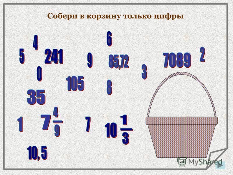 Из этих десяти цифр можно составить любое число Целое число Десятичная дробь Обыкновенная дробь