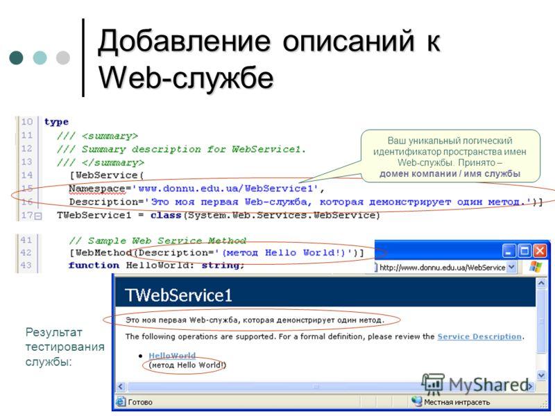Добавление описаний к Web-службе Результат тестирования службы: Ваш уникальный логический идентификатор пространства имен Web-службы. Принято – домен компании / имя службы