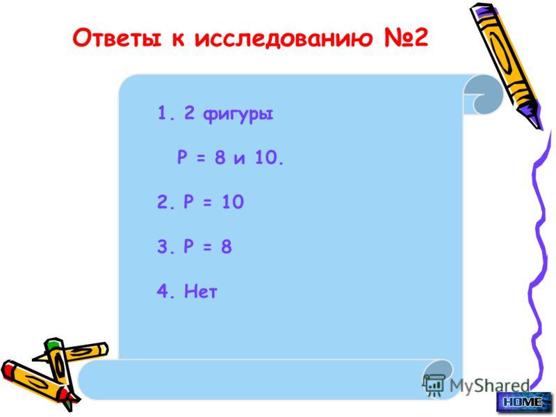Ответы к исследованию 2 1. 2 фигуры Р = 8 и 10. 2. Р = 10 3. Р = 8 4. Нет