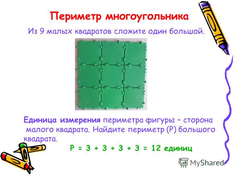 Из 9 малых квадратов сложите один большой. Единица измерения периметра фигуры – сторона малого квадрата. Найдите периметр (Р) большого квадрата. Р = 3 + 3 + 3 + 3 = 12 единиц Периметр многоугольника