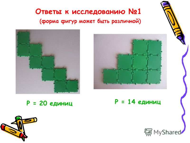 Ответы к исследованию 1 (форма фигур может быть различной) Р = 20 единиц Р = 14 единиц