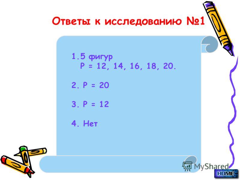 Ответы к исследованию 1 1.5 фигур Р = 12, 14, 16, 18, 20. 2. Р = 20 3. Р = 12 4. Нет