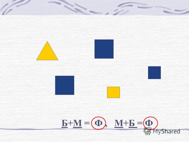 Б+М = Ф, М+Б = Ф