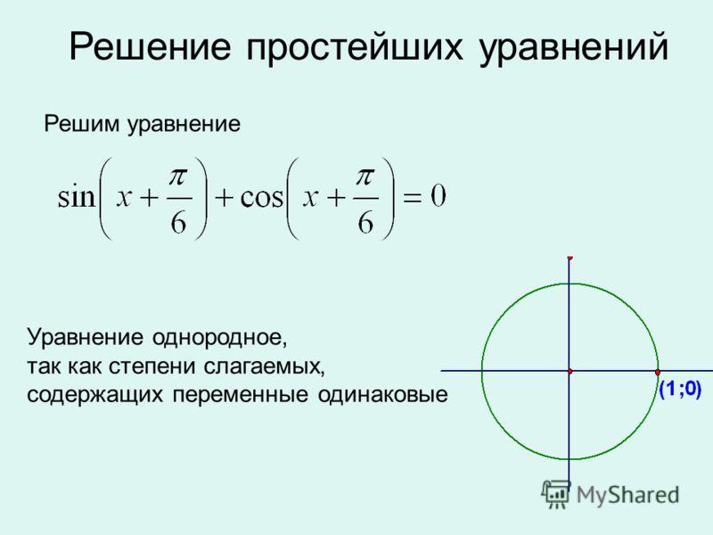 Решение простейших уравнений Решим уравнение Уравнение однородное, так как степени слагаемых, содержащих переменные одинаковые