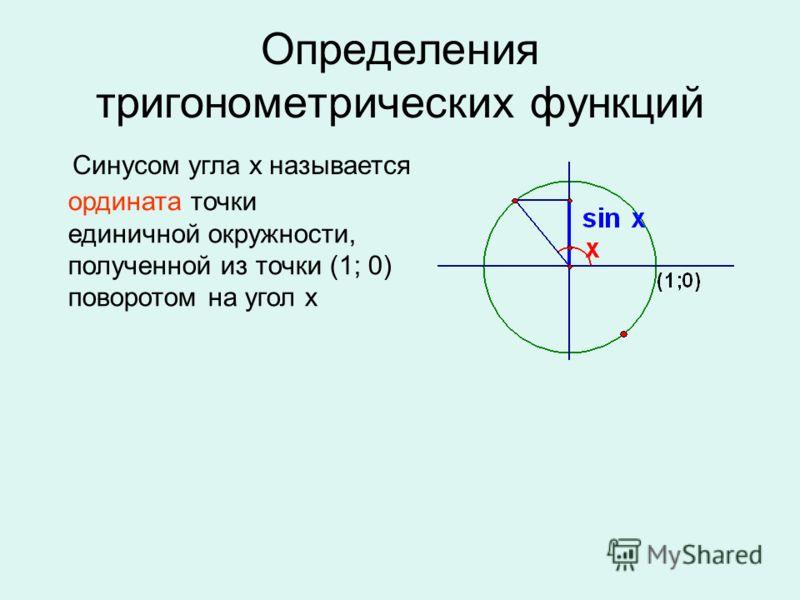 Определения тригонометрических функций Синусом угла х называется ордината точки единичной окружности, полученной из точки (1; 0) поворотом на угол х