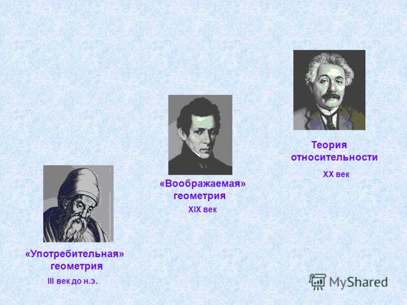 «Употребительная» геометрия «Воображаемая» геометрия Теория относительности III век до н.э. XIX век XX век