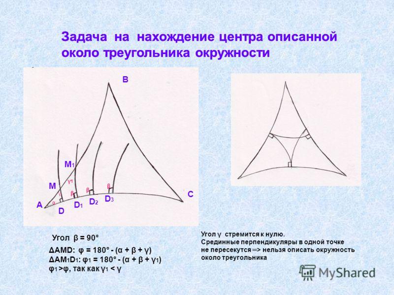 Задача на нахождение центра описанной около треугольника окружности Задача на нахождение центра описанной около треугольника окружности А В С D D1D1 D2D2 D3D3 М М1М1 α γ γ1γ1 β β β Угол β = 90° ΔАМD: φ = 180° - (α + β + γ) ΔАМ 1 D 1 : φ 1 = 180° - (α
