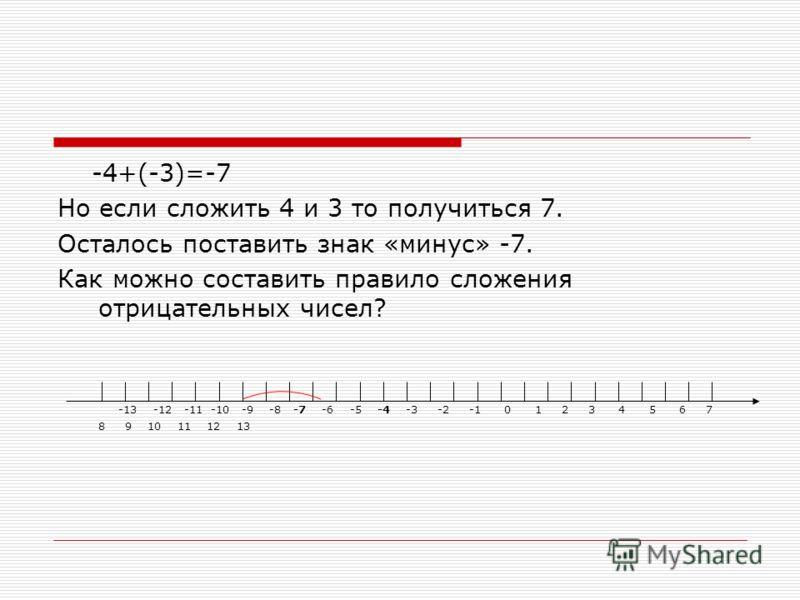 -4+(-3)=-7 Но если сложить 4 и 3 то получиться 7. Осталось поставить знак «минус» -7. Как можно составить правило сложения отрицательных чисел? -13 -12 -11 -10 -9 -8 -7 -6 -5 -4 -3 -2 -1 0 1 2 3 4 5 6 7 8 9 10 11 12 13