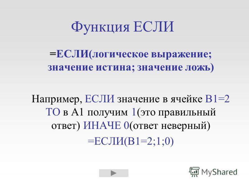 Функция ЕСЛИ =ЕСЛИ(логическое выражение; значение истина; значение ложь) Например, ЕСЛИ значение в ячейке В1=2 ТО в А1 получим 1(это правильный ответ) ИНАЧЕ 0(ответ неверный) =ЕСЛИ(В1=2;1;0)