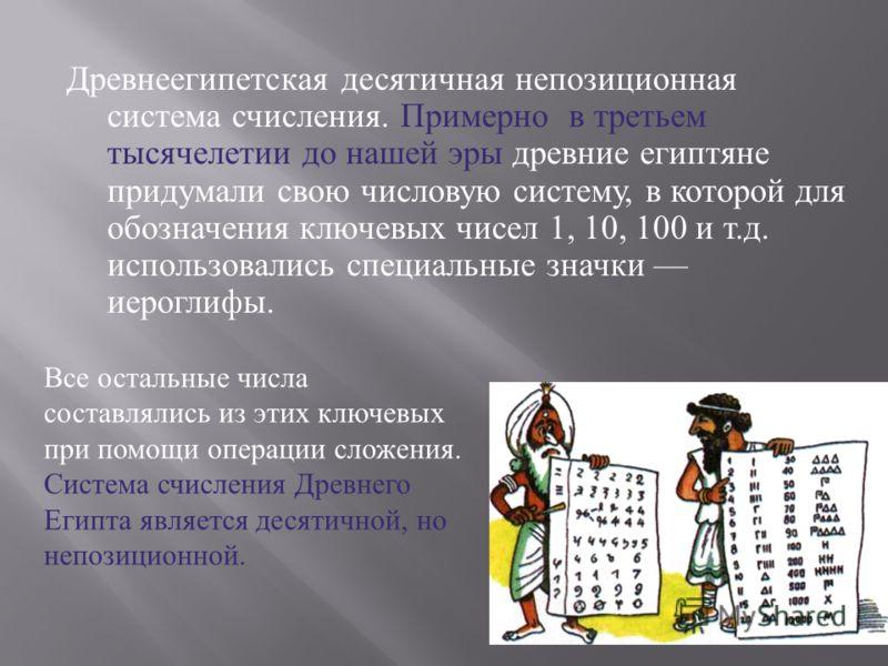 Древнеегипетская десятичная непозиционная система счисления. Примерно в третьем тысячелетии до нашей эры древние египтяне придумали свою числовую систему, в которой для обозначения ключевых чисел 1, 10, 100 и т. д. использовались специальные значки и