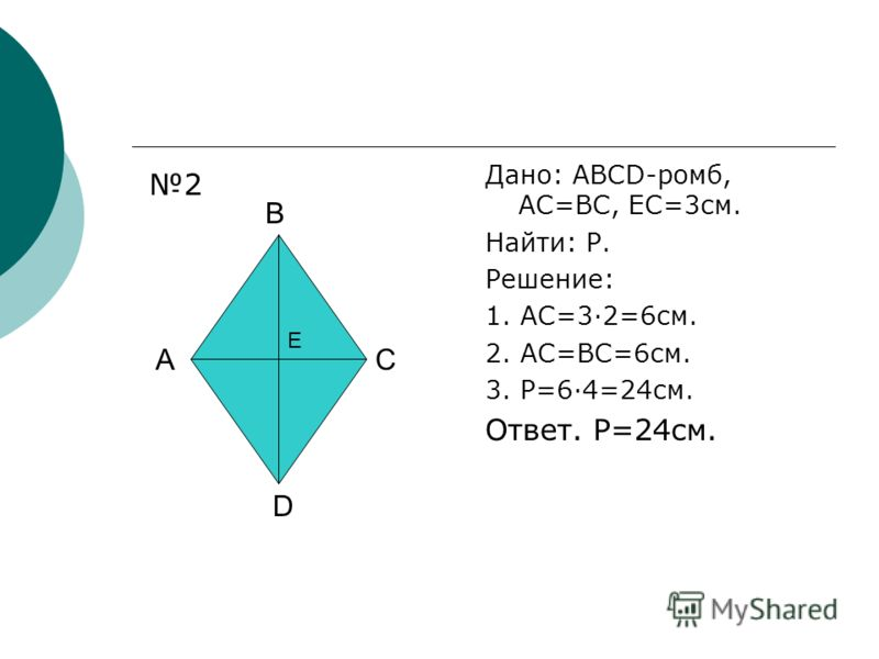 Дано: ABCD-ромб, AC=BC, EC=3см. Найти: P. Решение: 1. AC=3·2=6см. 2. AC=BC=6см. 3. P=6·4=24см. Ответ. P=24см. A B C D E 2