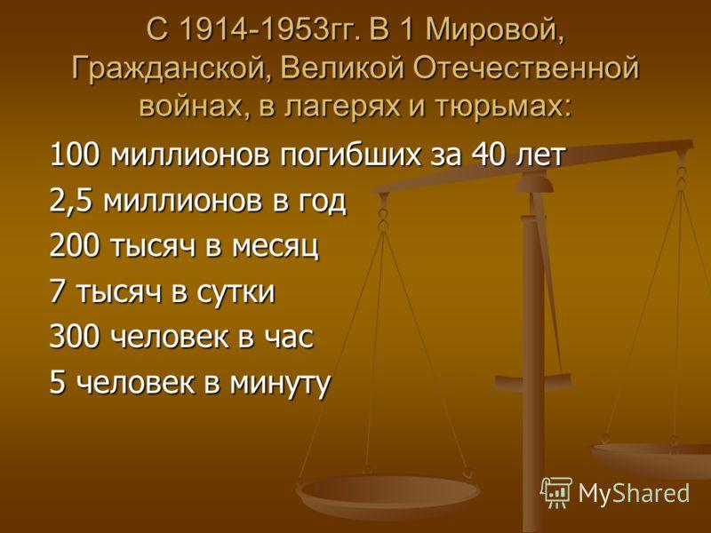 С 1914-1953гг. В 1 Мировой, Гражданской, Великой Отечественной войнах, в лагерях и тюрьмах: 100 миллионов погибших за 40 лет 2,5 миллионов в год 200 тысяч в месяц 7 тысяч в сутки 300 человек в час 5 человек в минуту