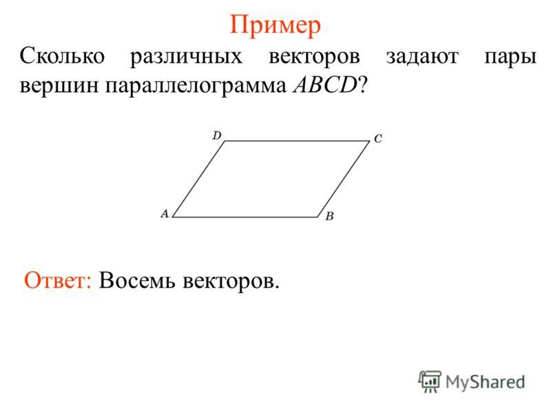 Пример Сколько различных векторов задают пары вершин параллелограмма ABCD? Ответ: Восемь векторов.