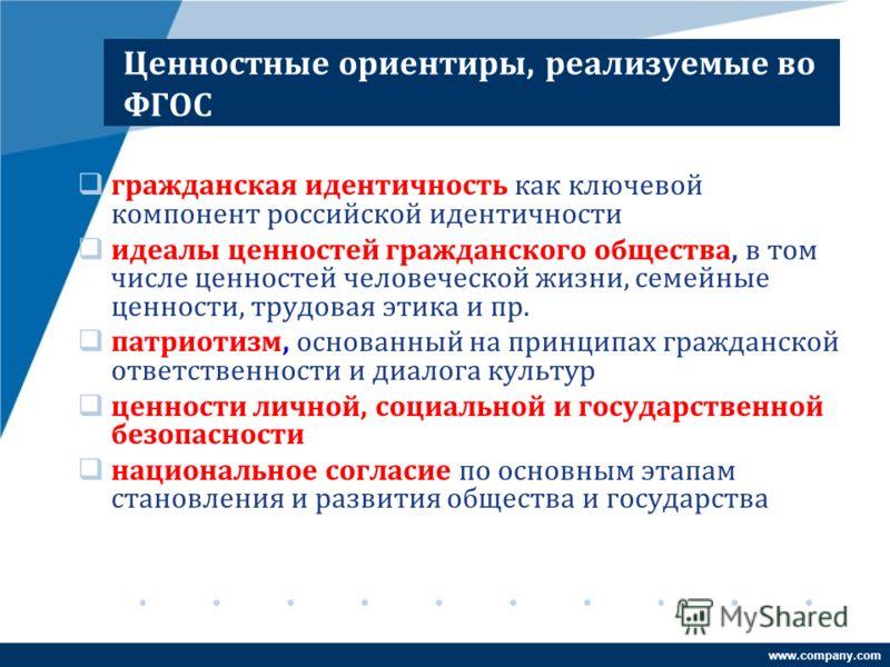 www.company.com Ценностные ориентиры, реализуемые во ФГОС гражданская идентичность как ключевой компонент российской идентичности идеалы ценностей гражданского общества, в том числе ценностей человеческой жизни, семейные ценности, трудовая этика и пр