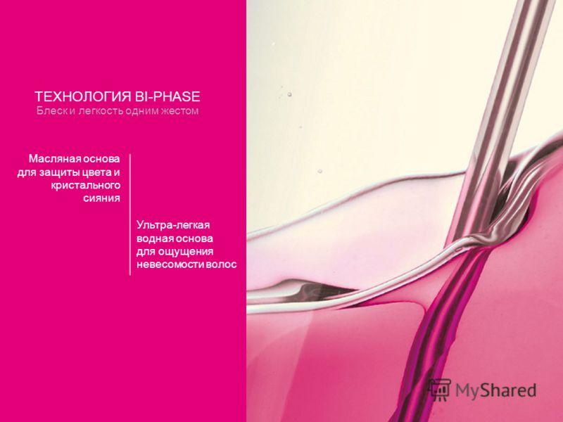 ТЕХНОЛОГИЯ BI-PHASE Блеск и легкость одним жестом Масляная основа для защиты цвета и кристального сияния Ультра-легкая водная основа для ощущения невесомости волос