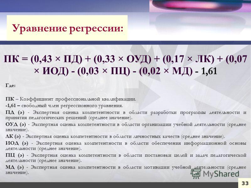 33 ПК = (0,43 × ПД) + (0,33 × ОУД) + (0,17 × ЛК) + (0,07 × ИОД) - (0,03 × ПЦ) - (0,02 × МД) - 1,61 Где: ПК – Коэффициент профессиональной квалификации. -1,61 – свободный член регрессионного уравнения. ПД (э) - Экспертная оценка компетентности в облас