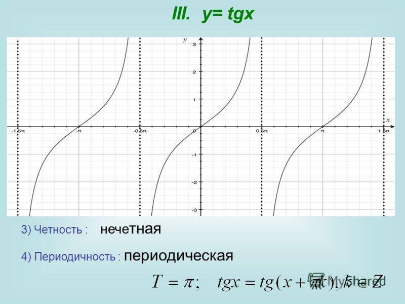 3) Четность : нече тная 4) Периодичность : периодическая III. y= tgx
