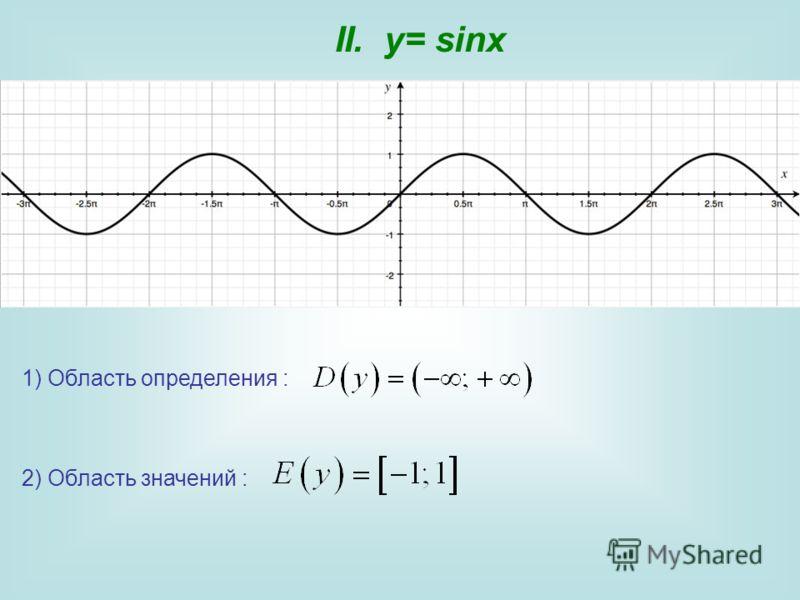 II. y= sinx 1) Область определения : 2) Область значений :