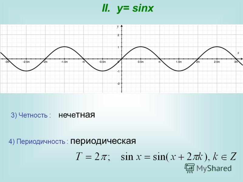 3) Четность : нече тная 4) Периодичность : периодическая II. y= sinx