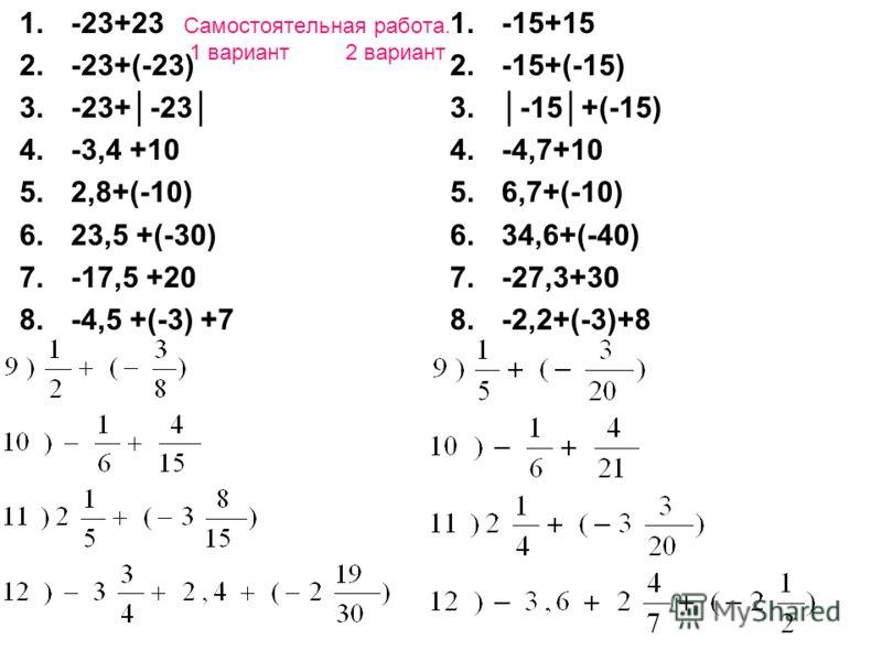 Самостоятельная работа. 1 вариант 2 вариант 1.-23+23 2.-23+(-23) 3.-23+-23 4.-3,4 +10 5.2,8+(-10) 6.23,5 +(-30) 7.-17,5 +20 8.-4,5 +(-3) +7 1.-15+15 2.-15+(-15) 3.-15+(-15) 4.-4,7+10 5.6,7+(-10) 6.34,6+(-40) 7.-27,3+30 8.-2,2+(-3)+8