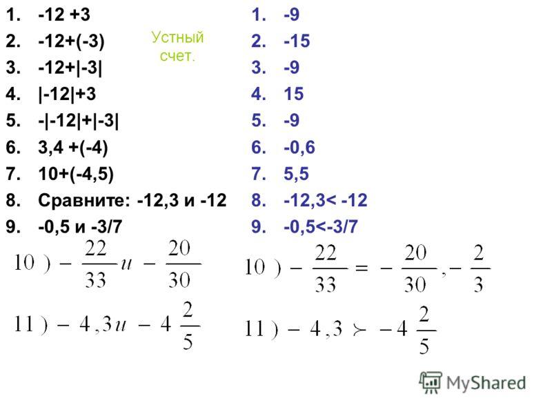 Устный счет. 1.-12 +3 2.-12+(-3) 3.-12+|-3| 4.|-12|+3 5.-|-12|+|-3| 6.3,4 +(-4) 7.10+(-4,5) 8.Сравните: -12,3 и -12 9.-0,5 и -3/7 1.-9 2.-15 3.-9 4.15 5.-9 6.-0,6 7.5,5 8.-12,3< -12 9.-0,5
