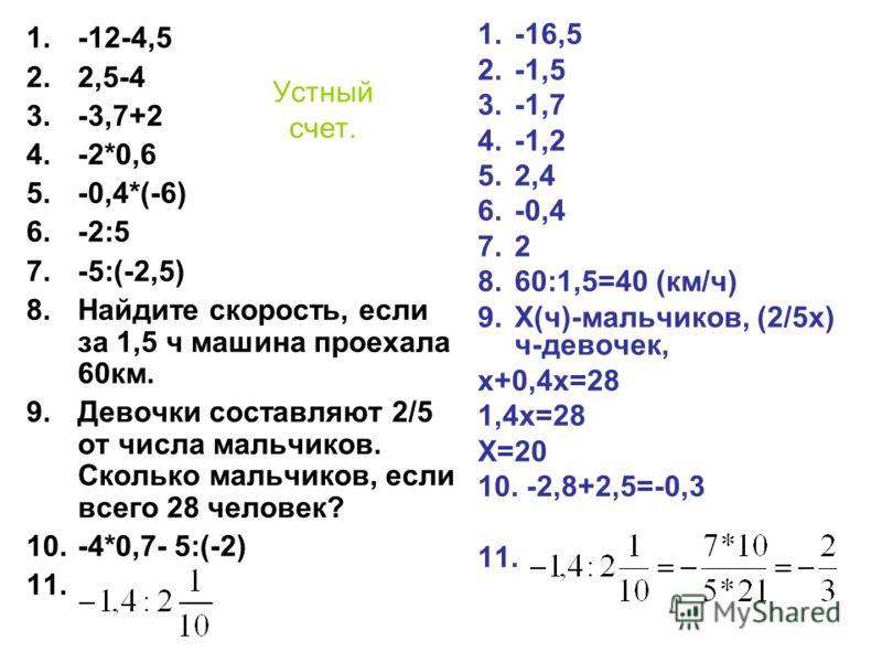 Устный счет. 1.-12-4,5 2.2,5-4 3.-3,7+2 4.-2*0,6 5.-0,4*(-6) 6.-2:5 7.-5:(-2,5) 8.Найдите скорость, если за 1,5 ч машина проехала 60км. 9.Девочки составляют 2/5 от числа мальчиков. Сколько мальчиков, если всего 28 человек? 10.-4*0,7- 5:(-2) 11. 1.-16